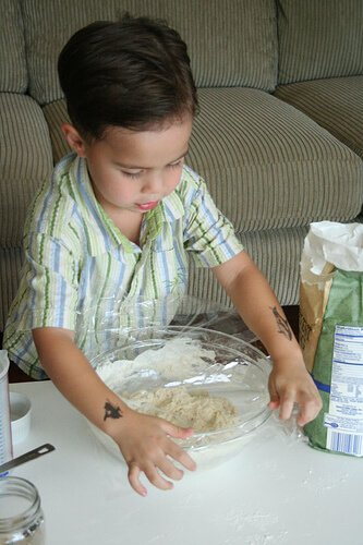 Wrap the Bread dough, No Knead Bread Recipe