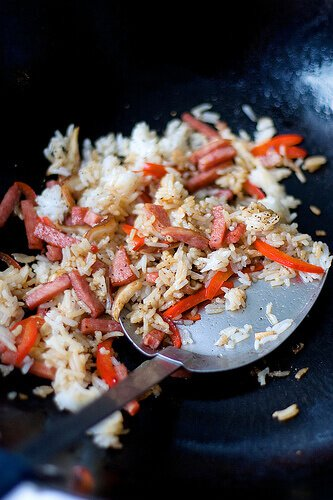 Pork Roll Fried Rice with Shitake Mushrooms and Red Bell Pepper