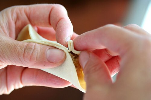 Pleating potstickers