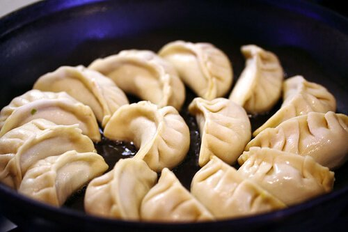 Pan Fried Pork and Shrimp Potstickers Recipe - pleating
