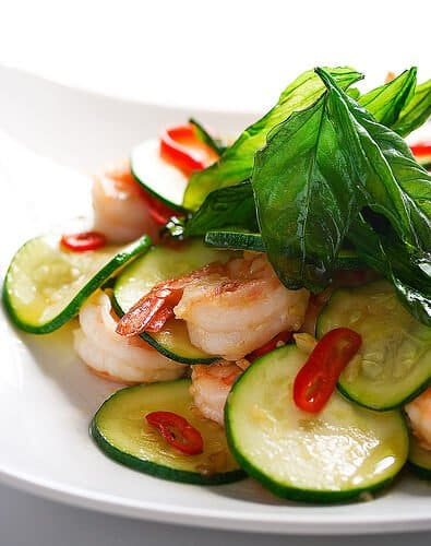 Shrimp and Zucchini Stirfry with Crispy Basil