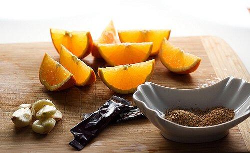 Oranges, garlic and spices