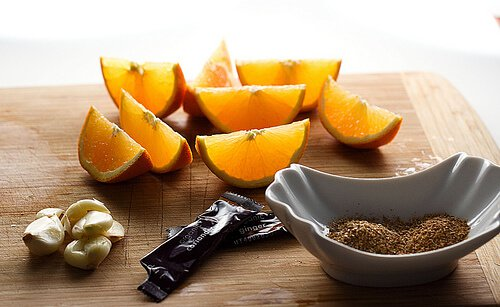 Oranges, garlic and spices