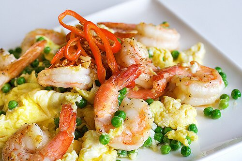 Stir Fried Shrimp, Eggs and Peas + Stir Fry Secrets