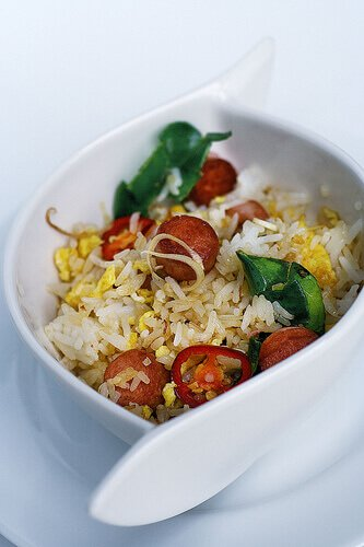 Vienna Sausage Fried Rice with Kaffir and Lemongrass