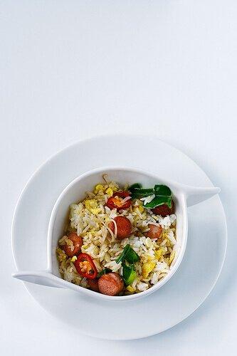 Vienna Sausage Fried Rice with Kaffir and Lemongrass