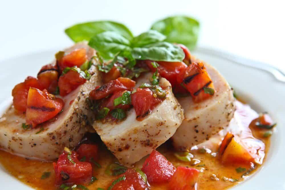 Photo: Pork Tenderloin with Warm Grilled Tomato Salsa