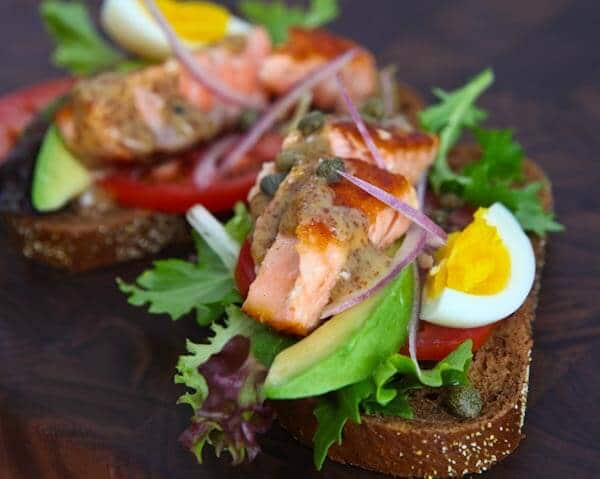 Open Face Salmon Sandwich with Sweet Mustard Sauce ...
