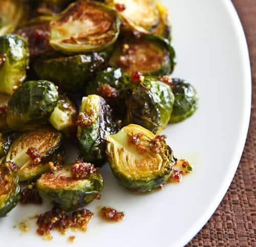 Roasted Brussels Sprouts with Cranberry Pistachio Pesto - Steamy ...