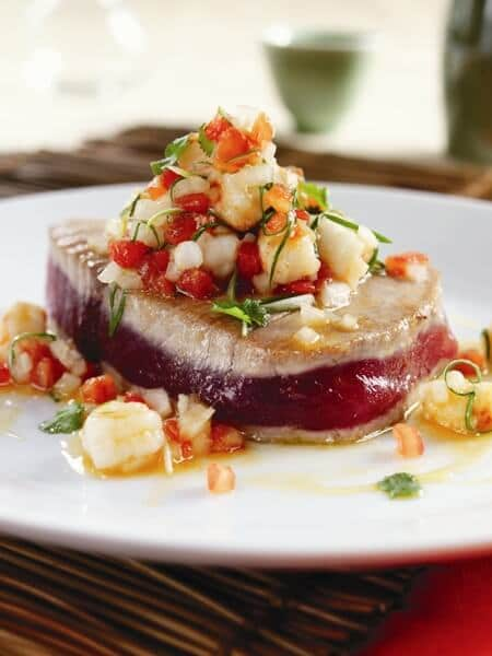 Seared Ahi with Lilikoi-Shrimp Salsa
