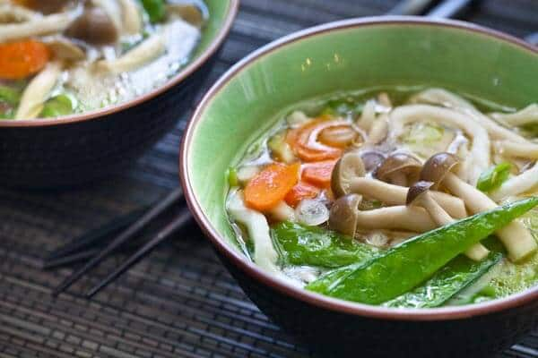 udon noodle soup with miso - 15 minute recipe