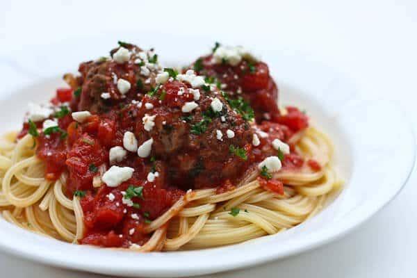 Greek Style Meatball Pasta