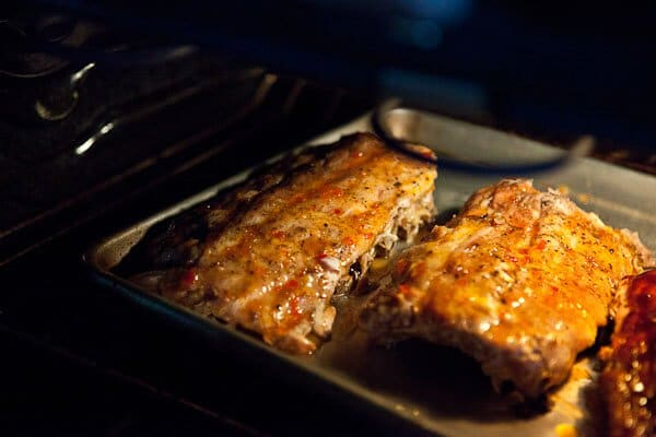ribs roasting in oven