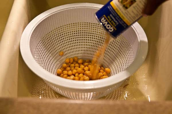Drain the Chickpeas for Crispy Roasted Chickpeas Recipe
