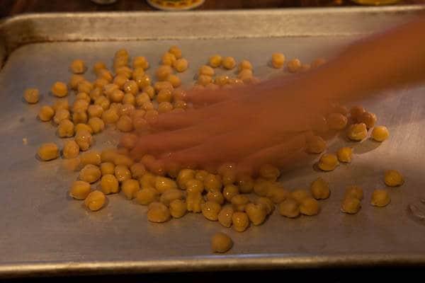 Distribute the oil Crispy Roasted Chickpeas Recipe