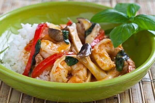 thai curry served over rice