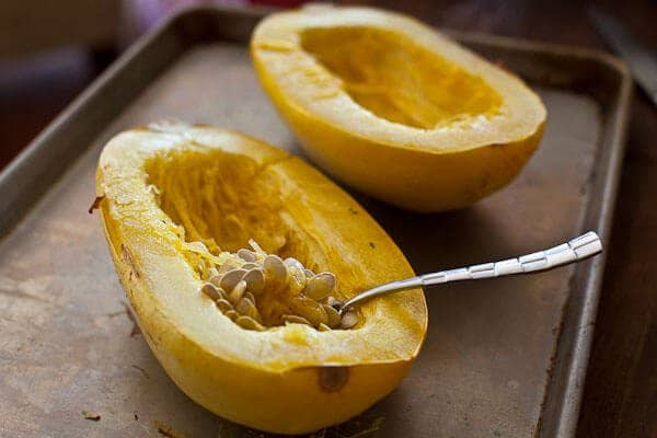 Remove seeds - Spaghetti Squash Recipe