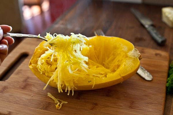 Use fork to keep strands - buttered Spaghetti Squash Recipe