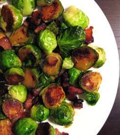 Pan Fried Brussels Sprouts with Chinese Bacon