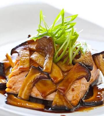 Teriyaki Mushroom Sauce with Grilled Salmon - Steamy ...