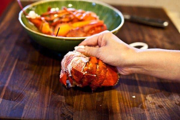 peeling lobster tail