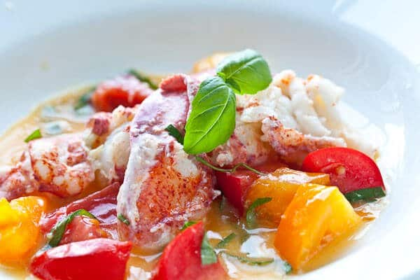 close up of butter poached lobster