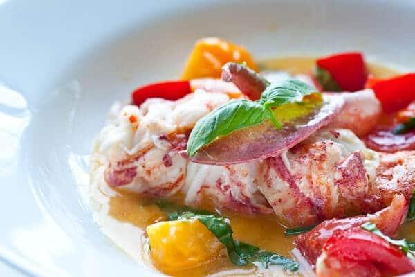 side shot of butter poached lobster