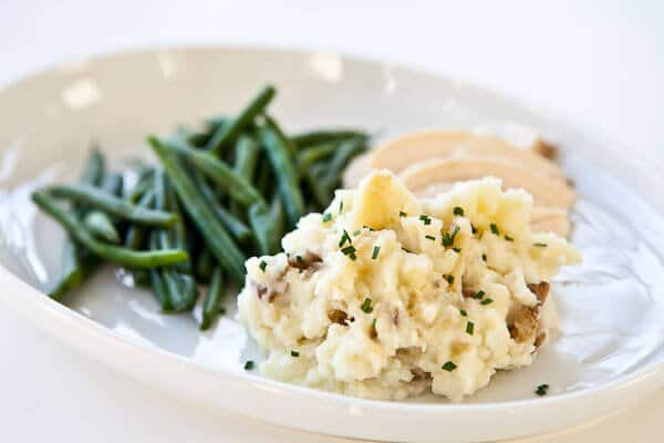 Roasted Garlic Mashed Potatoes with beans