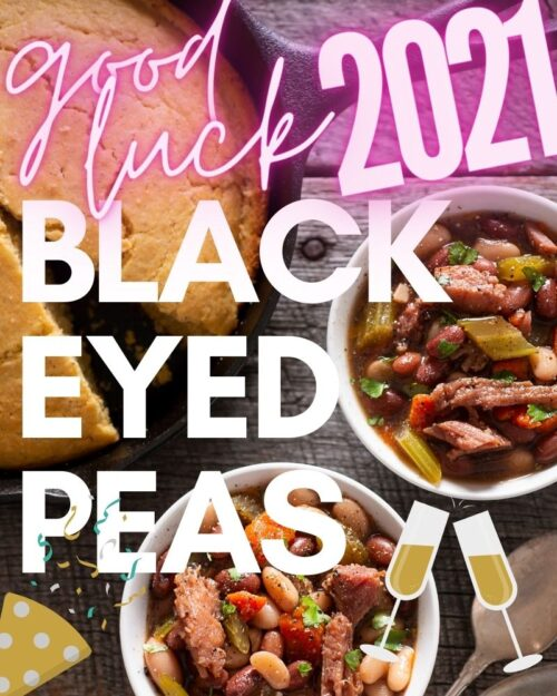 Black eyes peas and ham in white bowls.