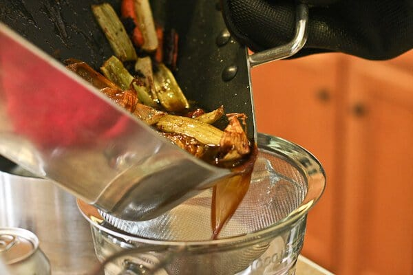 Prime Rib Recipe - Strain jus mixture