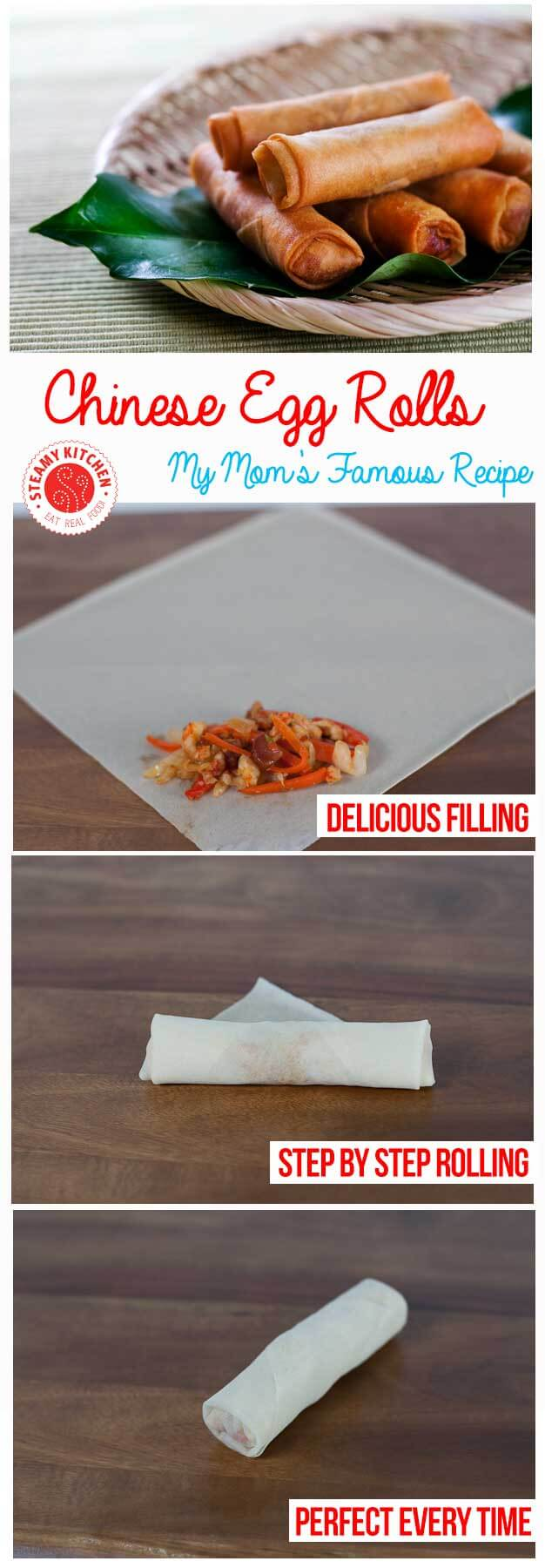 Mother's Famous Chinese Egg Rolls Recipe + step by step photos on how to wrap perfectly | steamykitchen.com ~ http://steamykitchen.com
