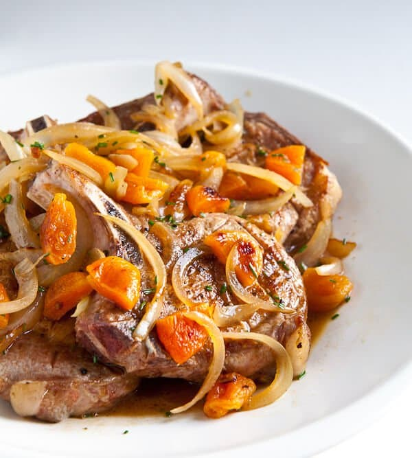 Pork chops with apricot brandy sauce recipe