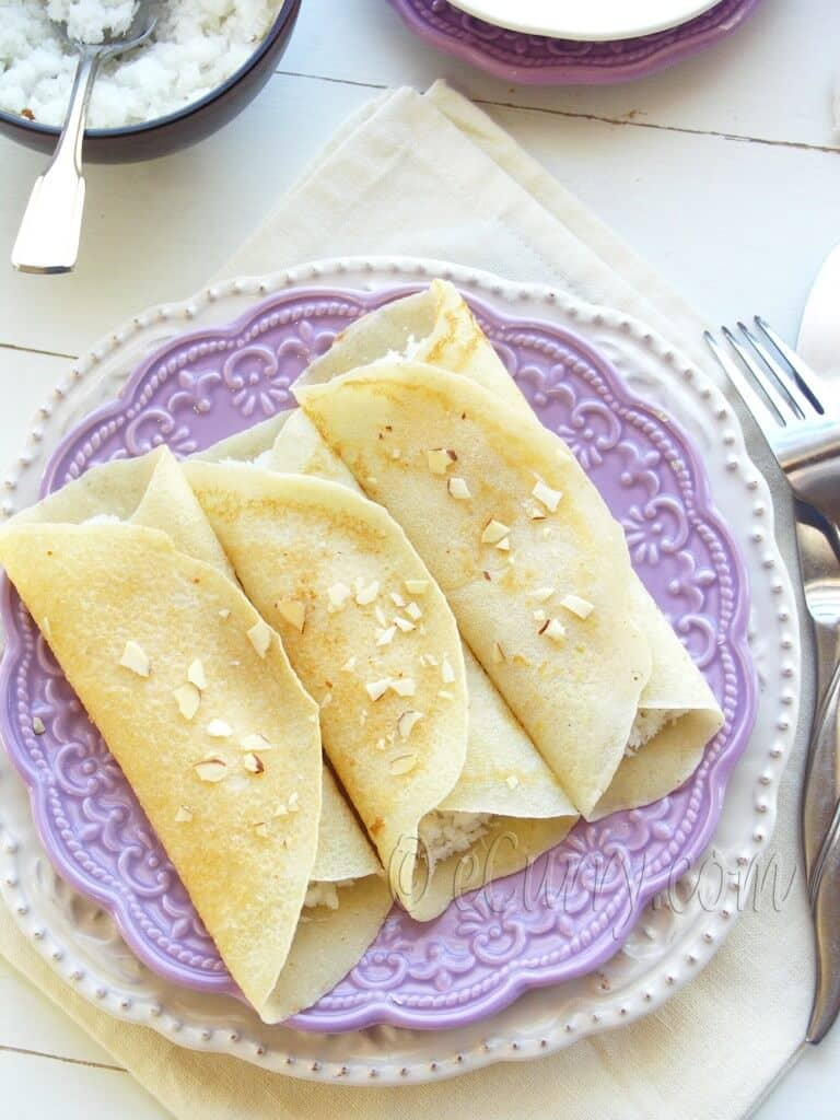 and aromatic! Crêpes with Sweet Coconut Cardamom Filling (Patishapta ...