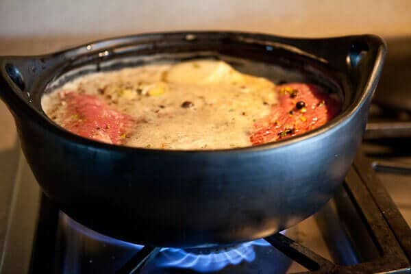 cooking pot with guinness corned beef