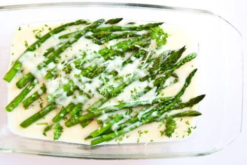 asparagus in baking dish