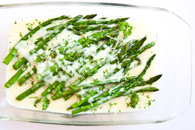 asparagus in baking dish