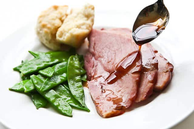 Glazed ham Recipe on plate