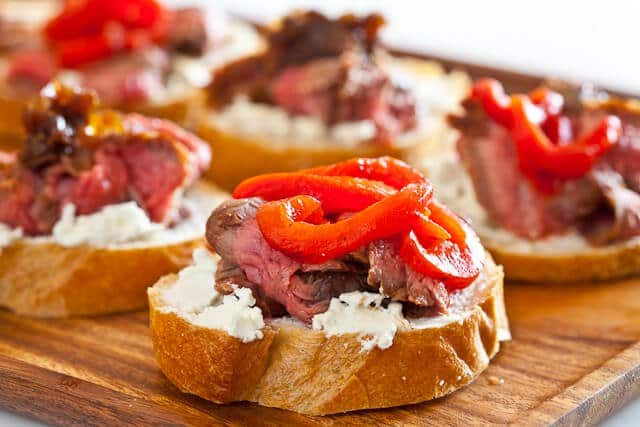 flank steak with goat cheese on toast steamy kitchen recipes