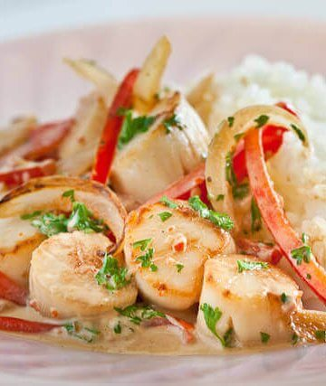 Creamy Scallops and Peppers Recipe