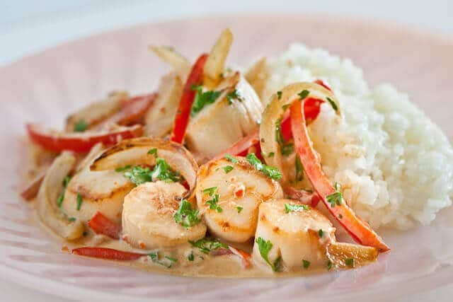 Creamy Scallops and Peppers
