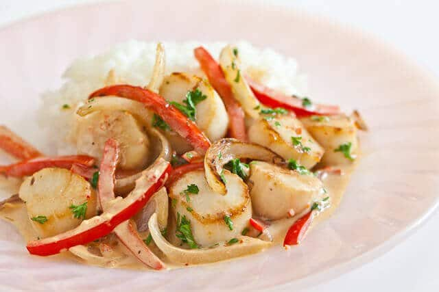 Spicy Creamy Scallops and Peppers Recipe