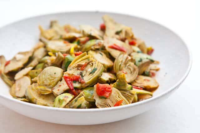 baby artichokes with garlic and tomatoes steamy kitchen recipes