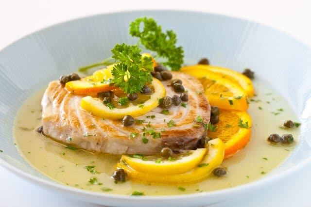 Fish with citrus caper sauce steamy kitchen recipes for Lemon butter caper sauce for fish