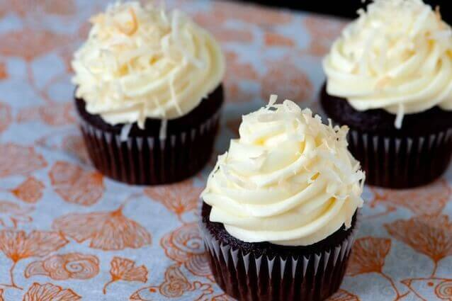 Chocolate and Coffee Cupcakes with Coconut Frosting