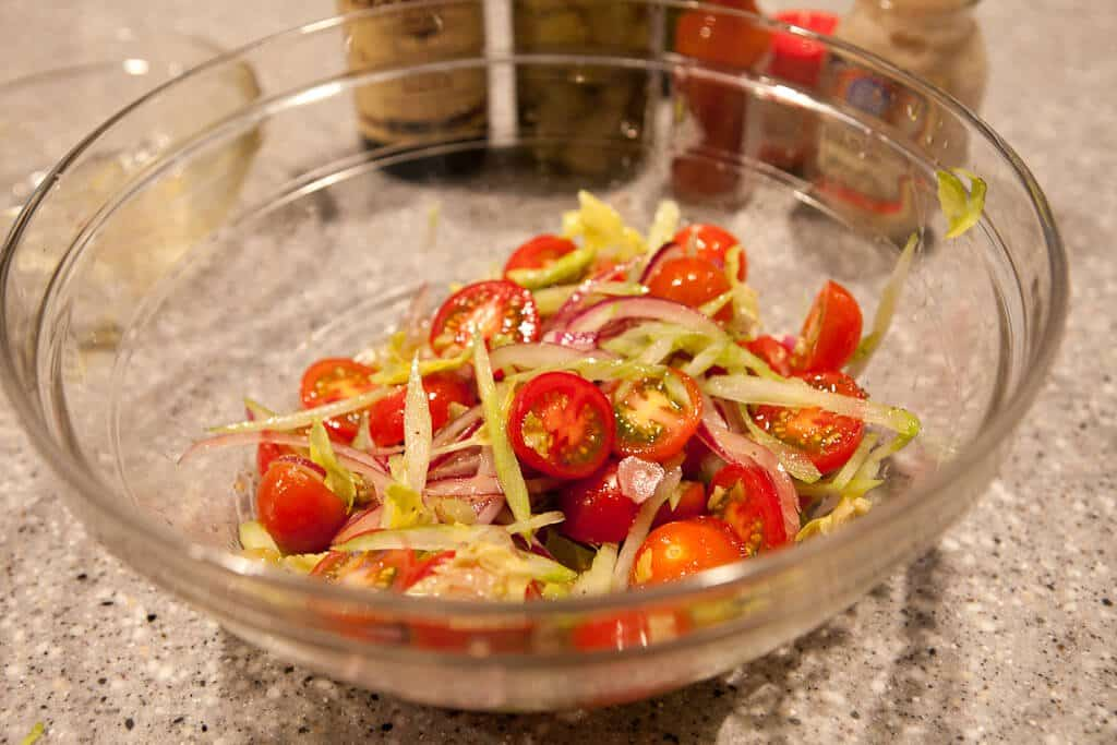 bloody mary tomato salad recipe - salad done