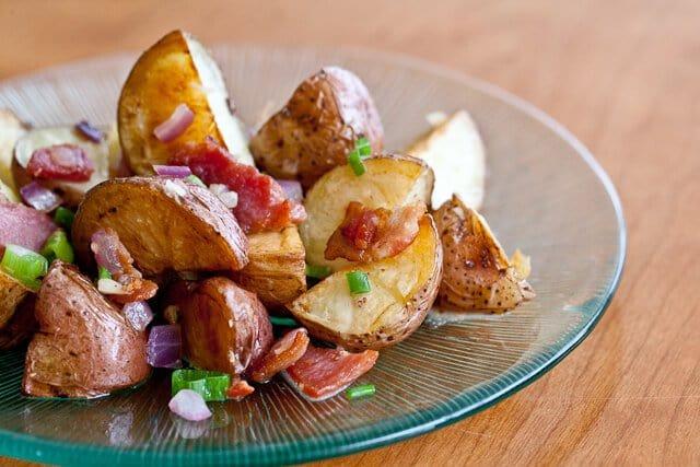 warm potato salad on plate