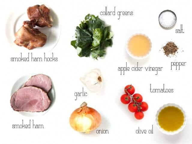ingredients for easy collard greens