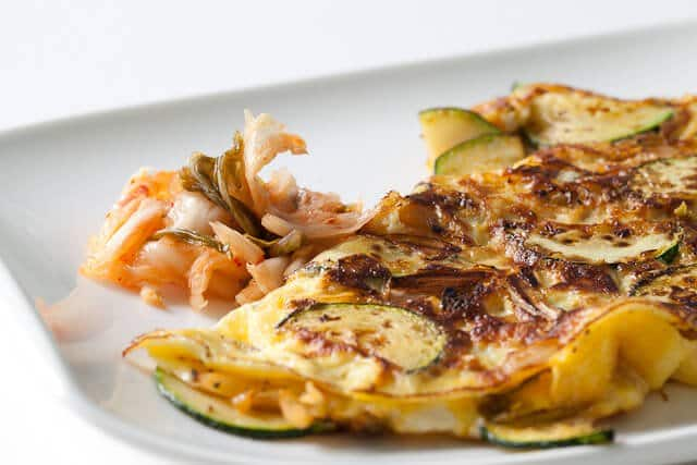 kimchi omelet on plate