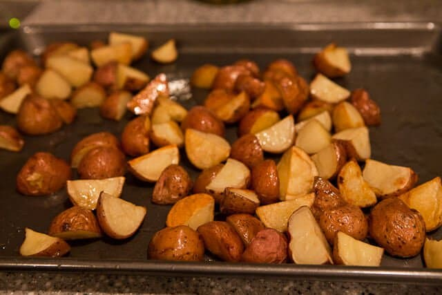 Roasted potatoes on a sheet pan