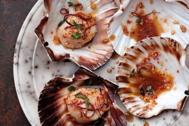 recipe for Chili and Basil Scallops by author of Mighty Spice ...
